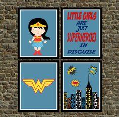 Set of 4  Super Hero Wonder Woman Wall Art Prints by PixiePaperSTL