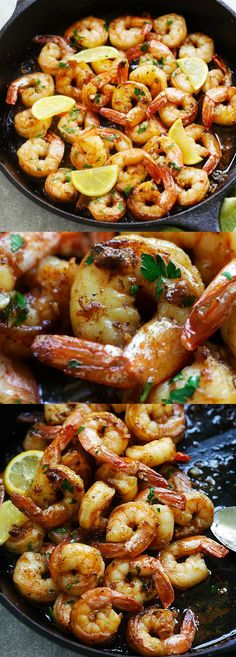 Brown Butter Lemon Garlic Shrimp - easiest, amazing and flavor-packed recipe in 15 minutes. Garlicky, buttery, lemony goodness in each bite and the shrimp can be served with pasta, rice or salad | rasamalaysia.com