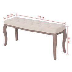 Bancă din pânză și lemn masiv, 110 x 38 x 48 cm, alb crem Padded Bench, Wedding Furniture, Buy Chair, Banquette, Chair And Ottoman, Cream White, White Fabrics, Wooden Frames, Decoration