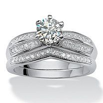 2 Piece 1.21 TCW Round Cubic Zirconia Bridal Ring Set in Platinum over Sterling Silver