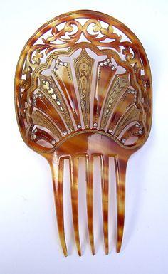 Art Nouveau Hair Comb Gilded Spanish Comb Hair by ElrondsEmporium