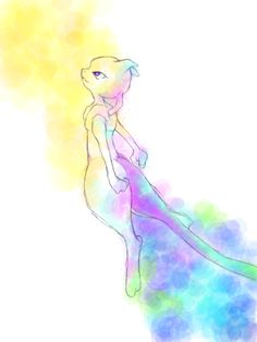 Mewtwo (i believe that this is a watercolor)