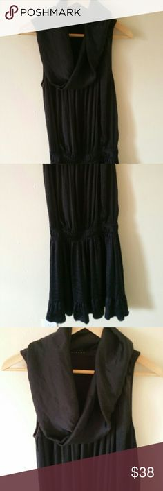 SISLEY  Dress Beautiful SISLEY black dress with amazing neck details. Silky and great to wear. Make me an offer:) Sisley Dresses Midi