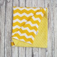 Sale!! Yellow Chevron Baby Blanket, Gold and White Minky Baby Blanket, Gender Neutral Minky Blanket by ModernBabyDesign on Etsy