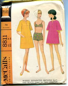 1960s Bikini Pattern Beach Coat Boy Shorts by PrettyPatternShop