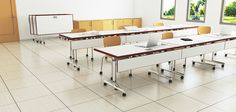 Nevins Pinnacle Training Tables on caster can add mobility and flexibility to your educational environment