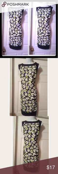 Black &geen floral print sheath dress Sleeveless with high round neckline, Black &geen floral print sheath dress. Dress in excellent like new condition Jessica Howard Dresses