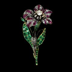 Lady Cory's Multi-Colored Flower Brooch Set With Brilliant-Cut Diamonds, Rubies And Emeralds, Mounted In Gold And Silver - France   c.1810   -   Victoria & Albert Museum