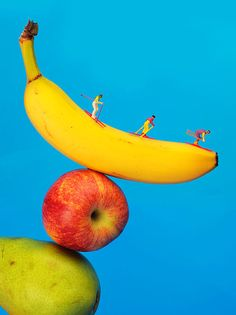 Skiing On Banana, Little People On Food, creative photography, home decor idea, food art, miniature art.
