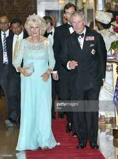 Camilla, Duchess of Cornwall and Prince Charles, Prince of Wales arrive at the CHOGM Dinner at the Cinnamon Lakeside Hotel during the Commonwealth Heads of Government 2013 Opening Ceremony at the Lotus Theatre on November 15, 2013 in Colombo, Sri Lanka. The Royal couple are visiting Sri Lanka in order to attend the 2013 Commonwealth Heads of Government Meeting.Prince Charles, representing the Queen will open the meeting. Camilla arrived wearing the Boucheron tiara that once belonged to the…