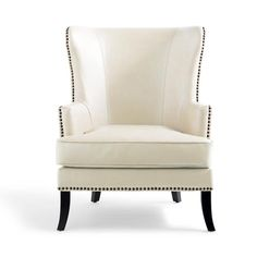 Wingback Chair, Armchair, Sofa, Grandin Road, Bonded Leather, Nailhead Trim, Chair Design, Wing Chairs, Wings