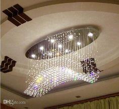 Livraison gratuite ovale Rideau vague moderne lustres cristal lampe salon lampe hôtel éclairage taille : L750 * W250 * H650mm