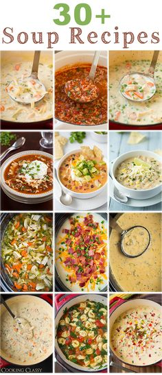 30+ Soup Recipes from Cooking Classy - theres enough to get you through the cold fall/winter ahead. I love each and every one of these!