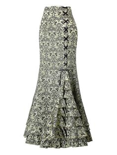 Skirt Women Punk Retro Mermaid Skirt Vintage Long Bodycon Ruffle Fishtail Skirt Faldas Mujer Moda Skirts Jupe Femme Color Black Size M Maxi Floral, Floral Print Skirt, Floral Skirts, African Fashion Dresses, African Dress, Midi Rock Outfit, Steampunk Skirt, Victorian Steampunk, Gothic Corset