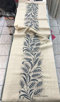 Ready to Ship - Harvest Leaves Thanksgiving Linen Fall Table Runner - Natural / Dk. Cross Stitch Borders, Cross Stitch Flowers, Cross Stitch Charts, Cross Stitch Designs, Cross Stitching, Cross Stitch Embroidery, Embroidery Patterns, Hand Embroidery, Cross Stitch Patterns