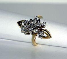 14 Karat Yellow Gold Prong Set Diamond Free Form Fashion Ring