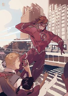 Wally West Young Justice, Dc Speedsters, Superman, Kid Flash, The Flash Art, Flash Wallpaper, Comic Book Publishers, Comic Book Pages, Hawkeye