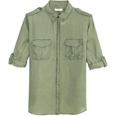 Equipment Safari Green Pigment Dyed Washed Habotai Major Blouse ($280) ❤ liked on Polyvore