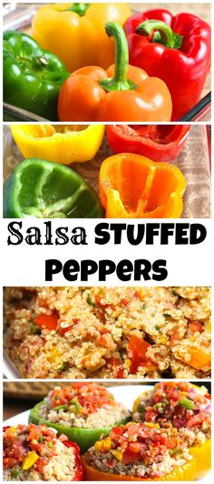 Roasted bell peppers stuffed with quinoa and fresh cilantro lime salsa.