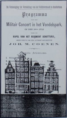 Oneoff handmade linoprint by Catriona Black of Amsterdam canal houses on a vintage journal page with Vondelpark military concert programme from 1872. See www.black-prints.com for more.