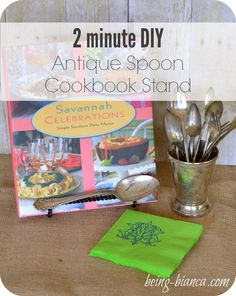 2 minute DIY - Antique Spoon Cookbook Stand - easy DIY that makes great home decor as a cookbook or plate stand.