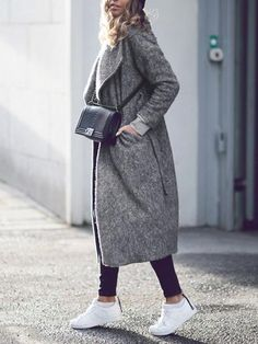 Long Grey Lapel Winter Coat with Pockets. The perfect long winter coat to go over any outfit. Inexpensive long wool look a like coat. Very warm overcoat for any