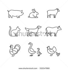 Domestic and farm animals thin line art icons set. Modern black symbols isolated on white for infographics or web use.
