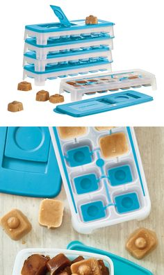 Fresh and Pure™ Ice Tray. Now with flexible bottom for easy ice cube removal. Hinged opening for mess-free filling. Cover, fill to max line and freeze. Seal prevents spills and shields from freezer particles and odors.