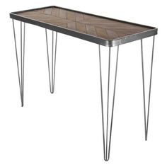 Decmode Modern 29 x 39 inch wood and iron chevron console table, Brown - Walmart.com