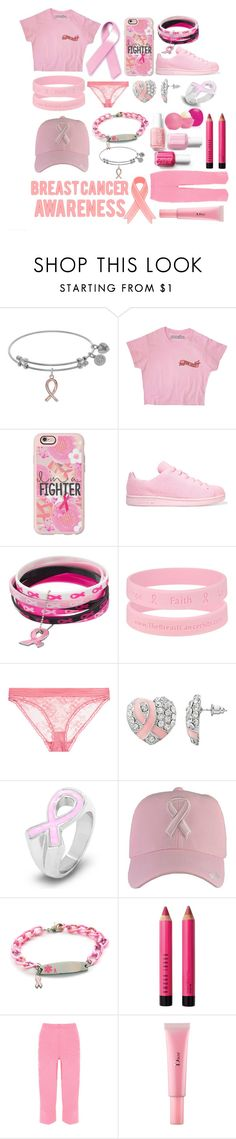 """""""BREAST CANCER AWARENESS MONTH"""" by bachelors-new-clothes ❤ liked on Polyvore featuring Casetify, adidas Originals, STELLA McCARTNEY, West Coast Jewelry, Bobbi Brown Cosmetics, WearAll and Christian Dior"""