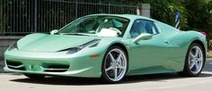 Ferrari 458 Spider mint green paint and interior