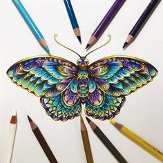 Loved colouring the Inky Butterfly from Johanna's new book with my Polychromos pencils