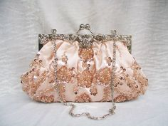 NEW  Champagne Sparkle Beaded Wedding Purse by AmericanCherry, $38.50 ~#repinned by Lori Cole for California Bridal Eventz