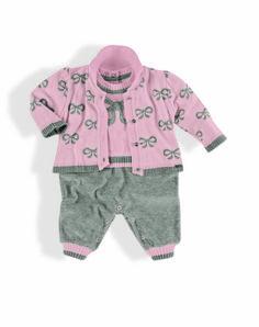 Macacão Casaquinho jaquard de laços com calça em plush Menina