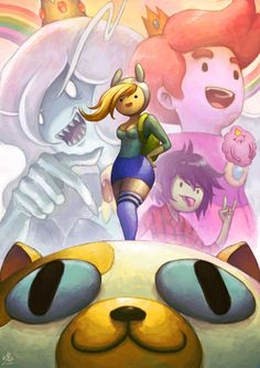 Adventure Time fan art with Fionna, Cake, Ice Queen, Prince Gumball, Marshall Lee and Lumpy Space Prince Adventure Time Anime, Adventure Time Wallpaper, Prince Gumball, Fin And Jake, Jake The Dogs, Marshall Lee, Fanart, Teen Titans, Cartoon Network