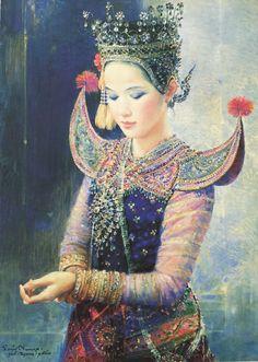 """The crystal-studded headdress"", 1990, oil on canvas, by Chakrabhand Posayakrit, a Thai national artist"