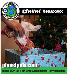 Recycle Giftware bin makes recycling and disgarding wrap easy and neat. Just reuse a cardboard box and wrap it all up for any holiday or party gift giving occasion. Green Christmas, Christmas Holidays, Christmas Decorations, Christmas Ornaments, Holiday Decor, Green Party, Recycling Bins, Party Entertainment, Easy Projects
