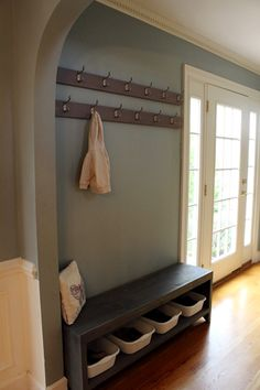 Boxy Colonial: A New Coat Rack and Bench for Our Foyer=Much Better
