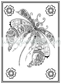 Adult colouring in PDF download dragonfly henna zen mandalas garden anti stress mindfulness flowers by gwendaviesart on Etsy https://www.etsy.com/listing/234630391/adult-colouring-in-pdf-download
