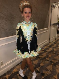 Lovely Black Elevation Design Irish Dance Dress Solo Costume For Sale