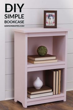 Build a simple DIY bookshelf with this step by step plan. It's easy to make with a few straight cuts and just a few common tools.