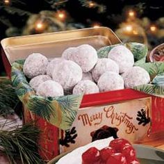 """Christmas Snowball Cookies:  1 cup butter softened; 1 cup powdered sugar (plus more for topping); 1-1/2 tsp. vanilla; 2-1/4 cups all-purpose flour; 1 cup chopped pecans; 3/4 tsp. salt;  Heat oven to 350 . Mix butter, powdered sugar & vanilla. Stir in flour, nuts & salt until dough holds together. Shape into 1"""" balls. Place about 1"""" apart on ungreased cookie sheets. Bake for 17 to 20 minutes or until set. Roll in powdered sugar while warm. Cool. Roll in powdered sugar again."""