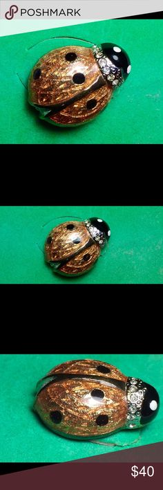 """🐞Vintage Carolee Lady Bug Pin🐞 Carolee Ladybug Brooch Pin. The ladybug is in perfect condition.   The pin is pave' with clear crystals around his head and in the back of the ladybug - The guilloche' enameling is beautifully done in an orange color with black enameled spots on it's wings and head. This pin because of it's coloring would look great on any outfit. What a Gorgeous gift for that ladybug collector. 7/ 8"""" on this Carolee enamel and crystal ladybug tack lapel brooch. Excellent…"""