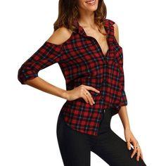 d8cfeb64c65a3a US Women s Off Shoulder Plaid Tops Long Sleeve Shirt Casual Blouse Loose T- shirt