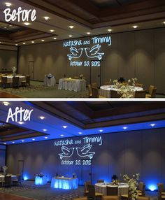 These photos give you the dramatic difference when using wedding lighting from Orlando-Uplighting for your Orlando Wedding Venue. Look how much the uplighting enhances the GOBO on the wall. This shot is from the Shades of Green Resort at Walt Disney World.