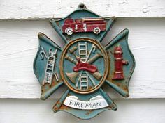 Cast Iron Fireman Cross Great Gift for the Firefighter by Idugitup, $35.00