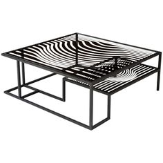 """""""Op Art"""" Glass and Metal Cocktail Table in the Manner of Victor Vasarely"""