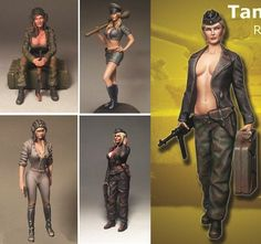 1/35 Scale - 5 Resin Figures WW2 Modern Military Tank Girl UNPAINTED Model WWII #Unbranded