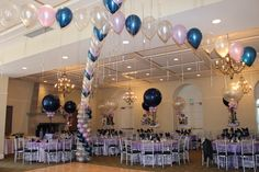 Navy & Lavender Balloon Gazebo Criss Cross Balloon Gazebo Dance Floor Decor