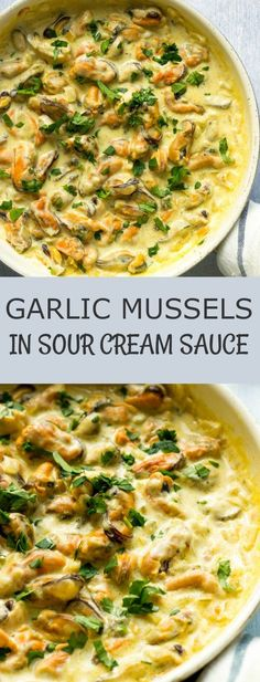 Looking for easy seafood recipes? These Garlic Mussels Recipe in a Sour Cream Sauce has so much flavor and minimal preparation time. Perfect for busy weeknight dinners. This is one of my favorite easy dinner recipes for family. #dinnertime #dinnerrecipes #dinner #seafood #comfortfoodfeast #comfortfood